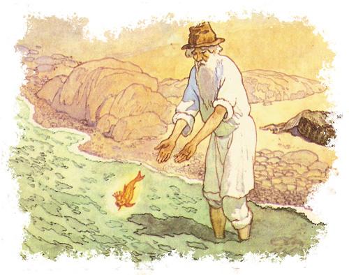 картинка о рыбаке и золотой рыбке